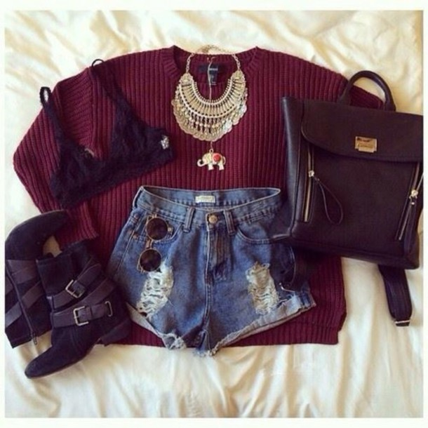 sweater handbag bag shoes shorts accessories necklace underwear