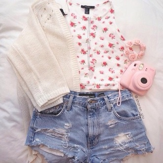 shorts top tank top floral tank top jeans cardigan sweater fashion style shirt