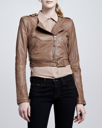 Rachel Zoe Willa Cropped Leather Jacket - Neiman Marcus