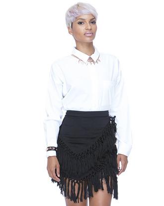 fringes black skirt fringe skirt