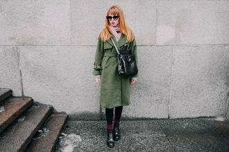kristina magdalina blogger sunglasses scarf coat bag shoes