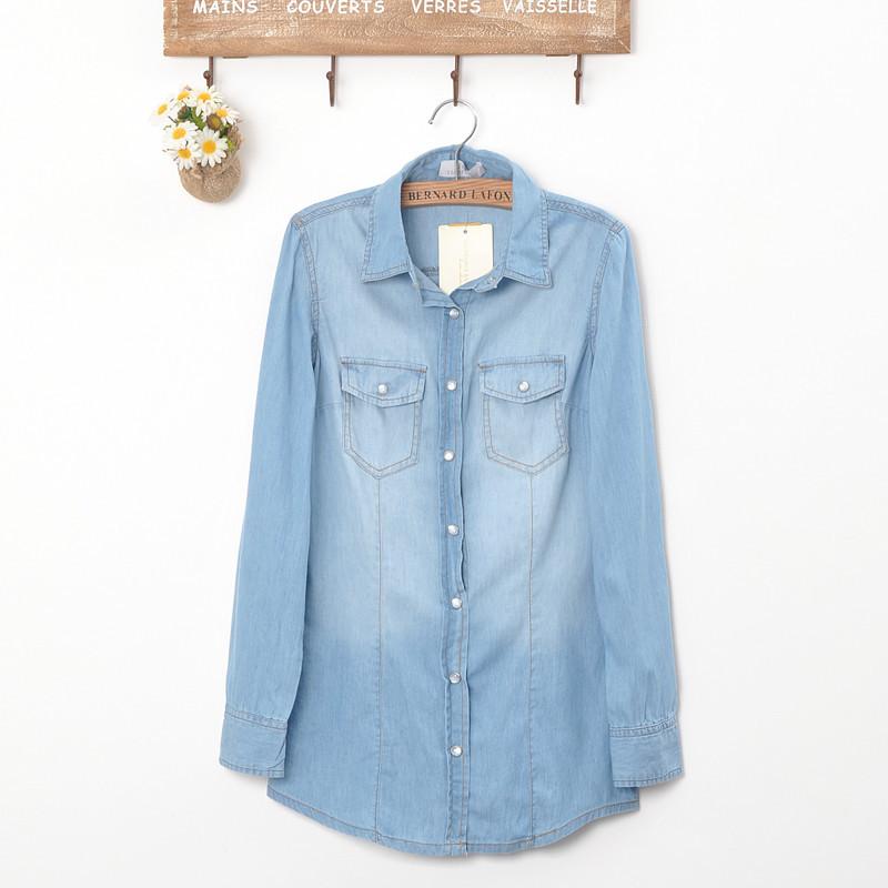 New womens european fashion pocket collar denim jean long sleeve shirts b1156