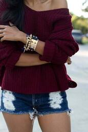 jacket,celebrity,shorts,jewels,jewelry,bracelets,stacked bracelets,sweater,burgundy sweater,burgundy,cute,cute outfits,off the shoulder sweater,oversized sweater,shirt,purple shirt