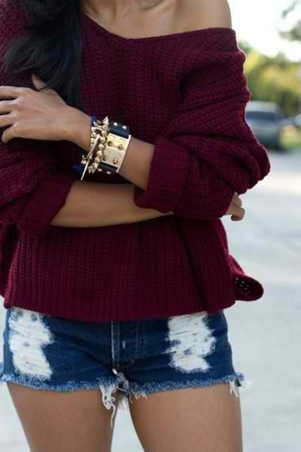 jacket celebrity shorts jewels jewelry bracelets stacked bracelets sweater burgundy sweater burgundy cute cute outfits burgundy off the shoulder sweater oversized sweater shirt purple shirt