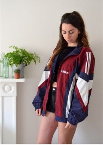 jacket retro vintage adidas jacket sports jacket adidas windbreaker vintage jacket 90s jacket 90s style blouse blue red white adidas