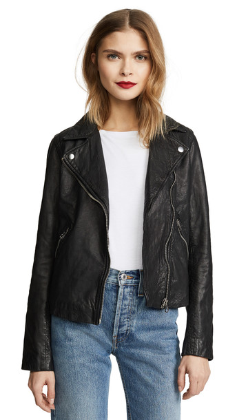 Madewell Washed Leather Motorcycle Jacket in black