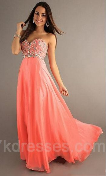 Long Empire Sweetheart Orange Empire Prom Dresses ykdress5044