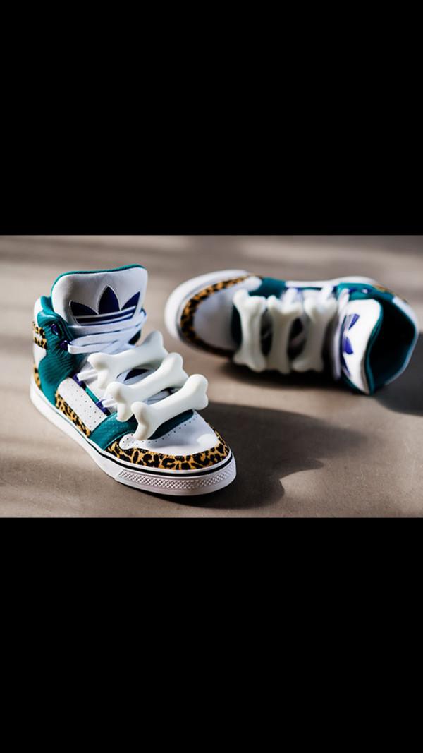 shoes bones leopard print blue white teal turquoise adidas adidas shoes adidas shoes adidas jeremy scott jeremy scott bone sneakers