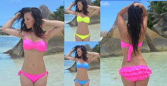 swimwear ruffle ruffle bandeau bikini ruffles ruffle bikini ruffle pants bandeau swimsuit pink neon swimsuit