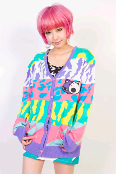 sweater cardigan bright colored kawaii pink jeffrey campbell?