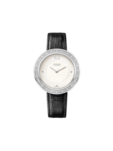 Fendi fur fox women watch leather black jewels