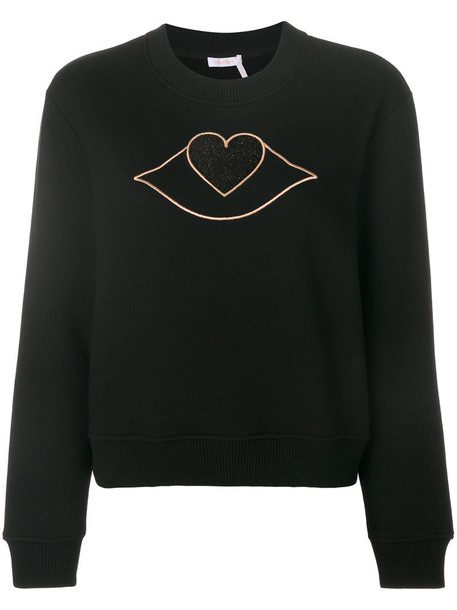 See By Chloé See By Chloé - lips heart cutout sweatshirt - women - Cotton/Modal - L, Black, Cotton/Modal