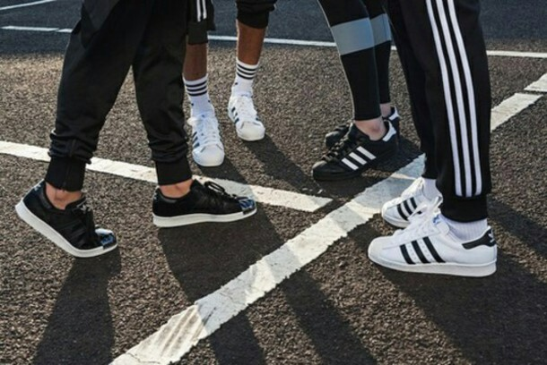 adidas superstar black fashion