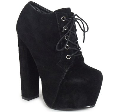 WOMENS LADIES BLACK LACE UP CONCEALED PLATFORM BLOCK HIGH HEEL SHOES BOOTS 3-8: Amazon.co.uk: Shoes & Bags