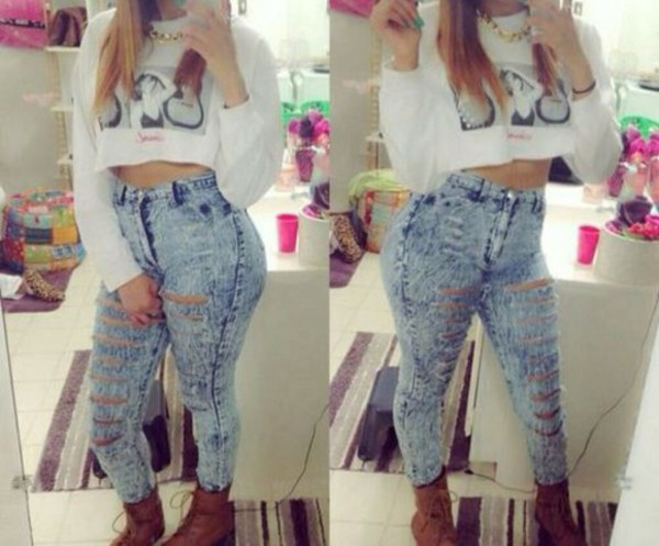 jeans acid wash pants crop tops