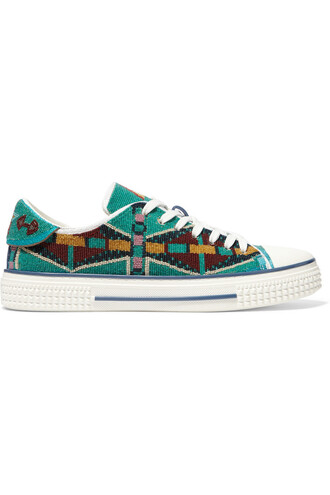mesh beaded sneakers turquoise shoes