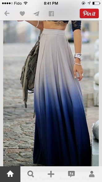 maxi ombre gradient high waisted maxi skirt