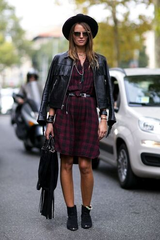 dress flannel fashion week 2014 streetstyle fall outfits fringed bag leather jacket
