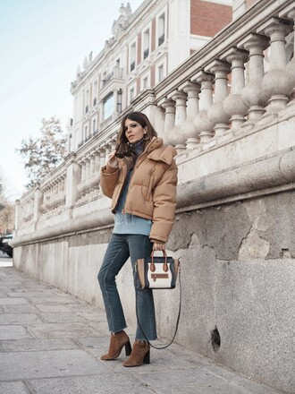 jacket tumblr puffer jacket nude jacket winter jacket sweater blue sweater knit knitwear knitted sweater denim jeans flare jeans boots brown boots