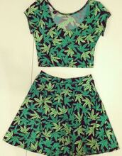 skirt,green,weed,weed pants,2pieces