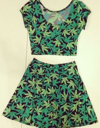 skirt green weed weed pants 2pieces