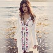 dress,hawaiian,hippie,hippie chic,retro dress,beach dress,linen dress,embroidered dress,rocky barnes,high low dress,coachella,trendy,trending dress