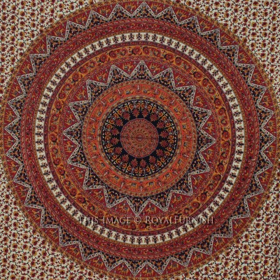 Queen Red Psychedelic Bohemian Hippie Mandala Tapestry Wall Hanging - RoyalFurnish.com