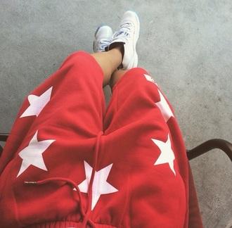 pants red white blue sweatpants asia nicole style fashion stars dope wishlist