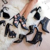 shoes,nastygal,heel,heels,pumps,elly clay,leather,black,cross over,buckles,silver,metal,pointed toe,pointed toe pumps