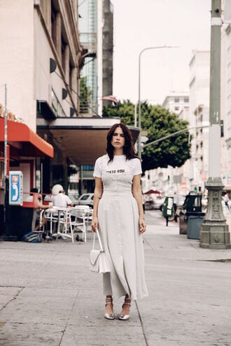 le fashion image blogger dress bag shoes white dress white top quote on it button up white bag silver silver shoes