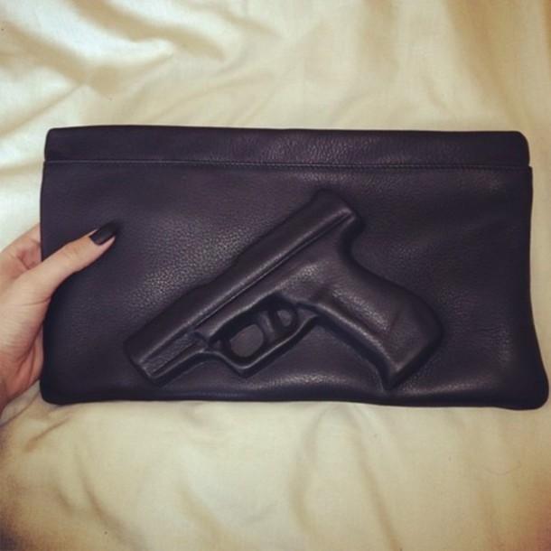 bag handgun clutch ebonylace.storenvy ebonylace.storenvy ebonylace-streetfashion black gun purse hand nails cool cover leather thug life luxury bad girls club dangerous