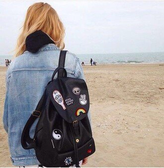 bag school bag black bag black patch leather bag back to school school girl high school backpack alien rainbow yin yang eyes