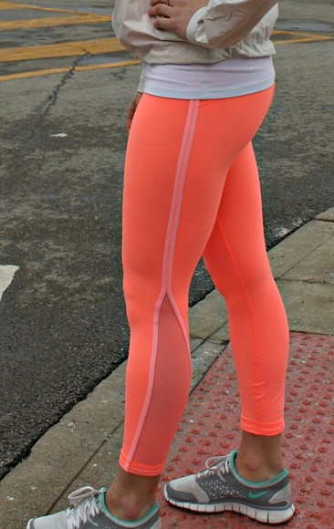running shoes leggings neon orange athletic pants