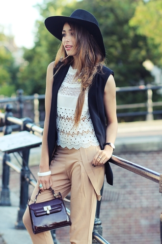preppy fashionist blogger top jacket bag jewels suspenders crochet fall outfits hat pants shoes