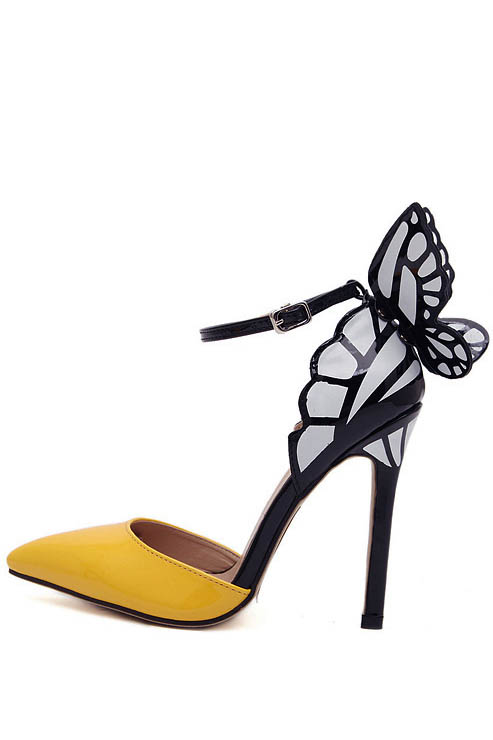 Yellow pointed toe ankle strap butterfly heels