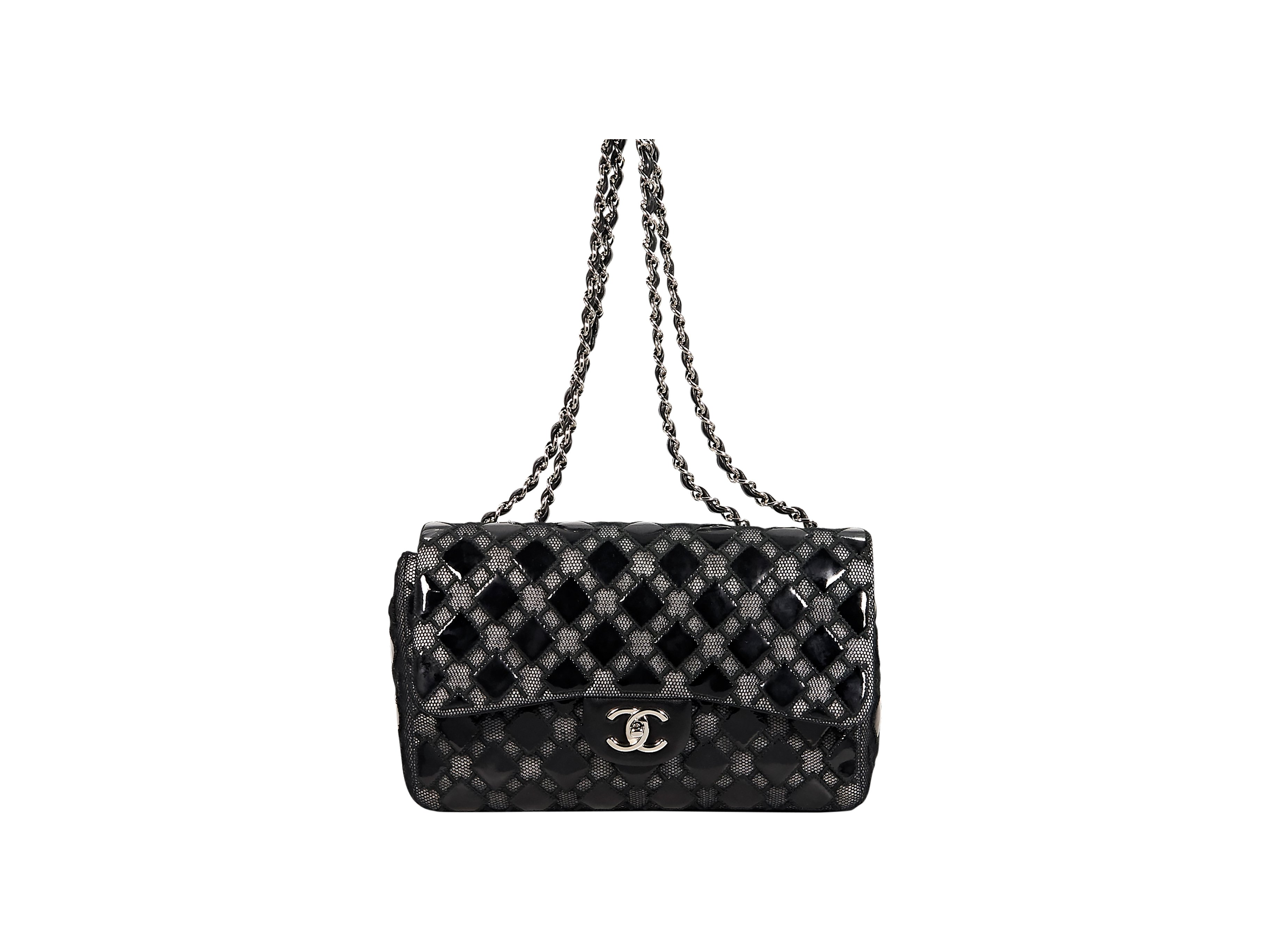 Black Chanel Patent Leather & Mesh Flap Bag