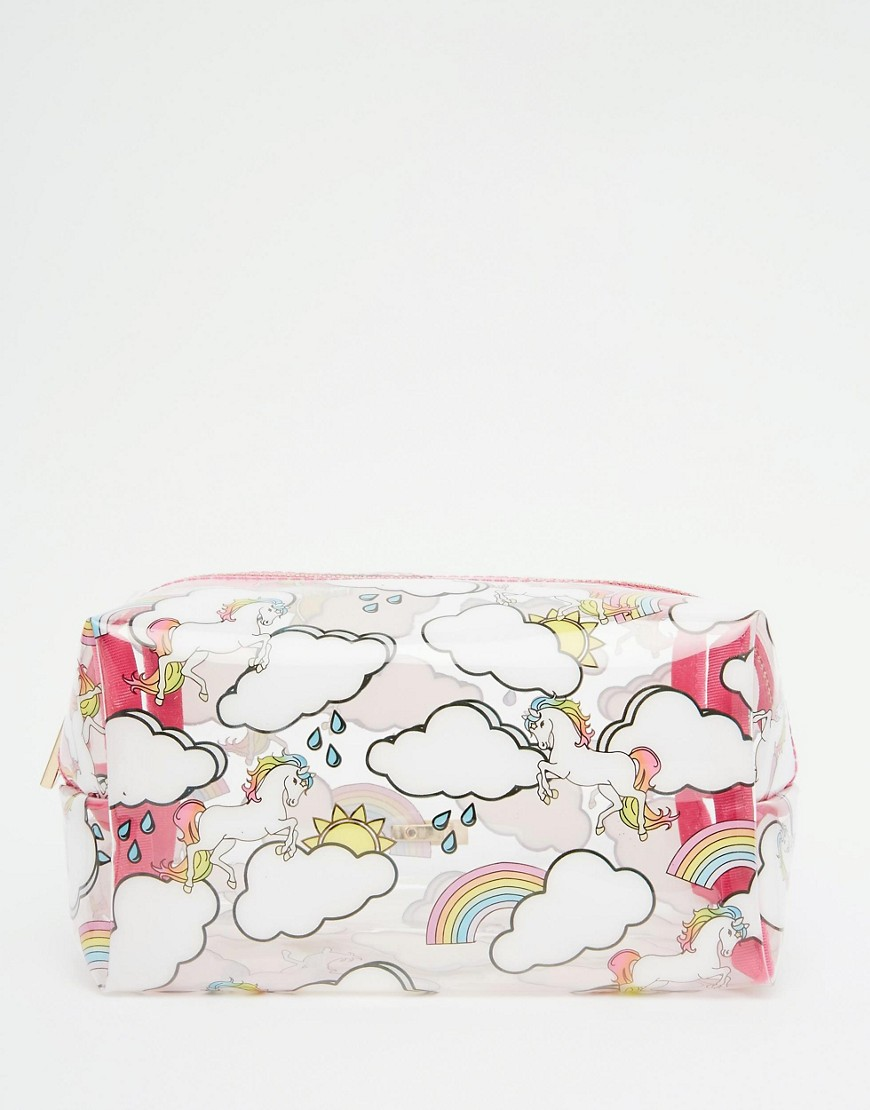Skinnydip ASOS Exclusive Unicorn & Rainbow Print Make Up Bag at asos.com