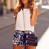 shirt,shorts,bag,t-shirt,sunglasses,shoes,blue pattern,blouse,printed shorts,crop tops,white crop tops,black,zip,purse,black bag with gold details,tank top,black and white,help me find these,blue,and,white,pattern,i really want this whole outfit can you help me find it !!!,lace,sleeveless,high waisted blue shorts,tumblr,tumblr shorts,tumblr clothes,style,summer,summer outfits,summer shorts,tumblr girl,rebecca minkoff,top,girly,girl,gold,pockets,chain,hipster,classy,crossbody bag,print,short,clothes,black shorts,blue and white shorts,boho patterns shorts,fashion,party,pants