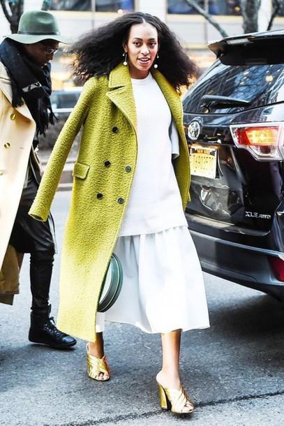 e6fbf6c25415 shoes gold shoes mules gucci skirt midi skirt white skirt white top coat  green coat solange