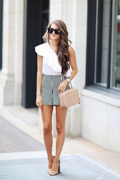 southern curls and pearls blogger top shorts bag jewels sunglasses shoes make-up