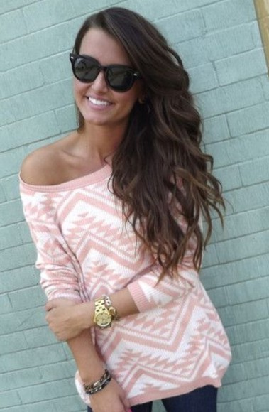 pattern aztec pink jumper sweater