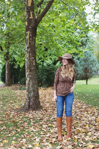 girl and closet blogger hat top shoes long sleeves floppy hat skinny jeans knee high boots brown boots autumn/winter forever 21 floral american eagle outfitters