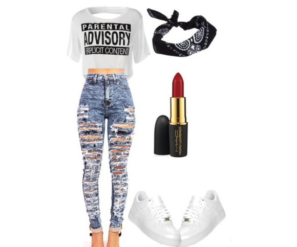 jeans ripped jeans white bandanas black nikes red lipstick