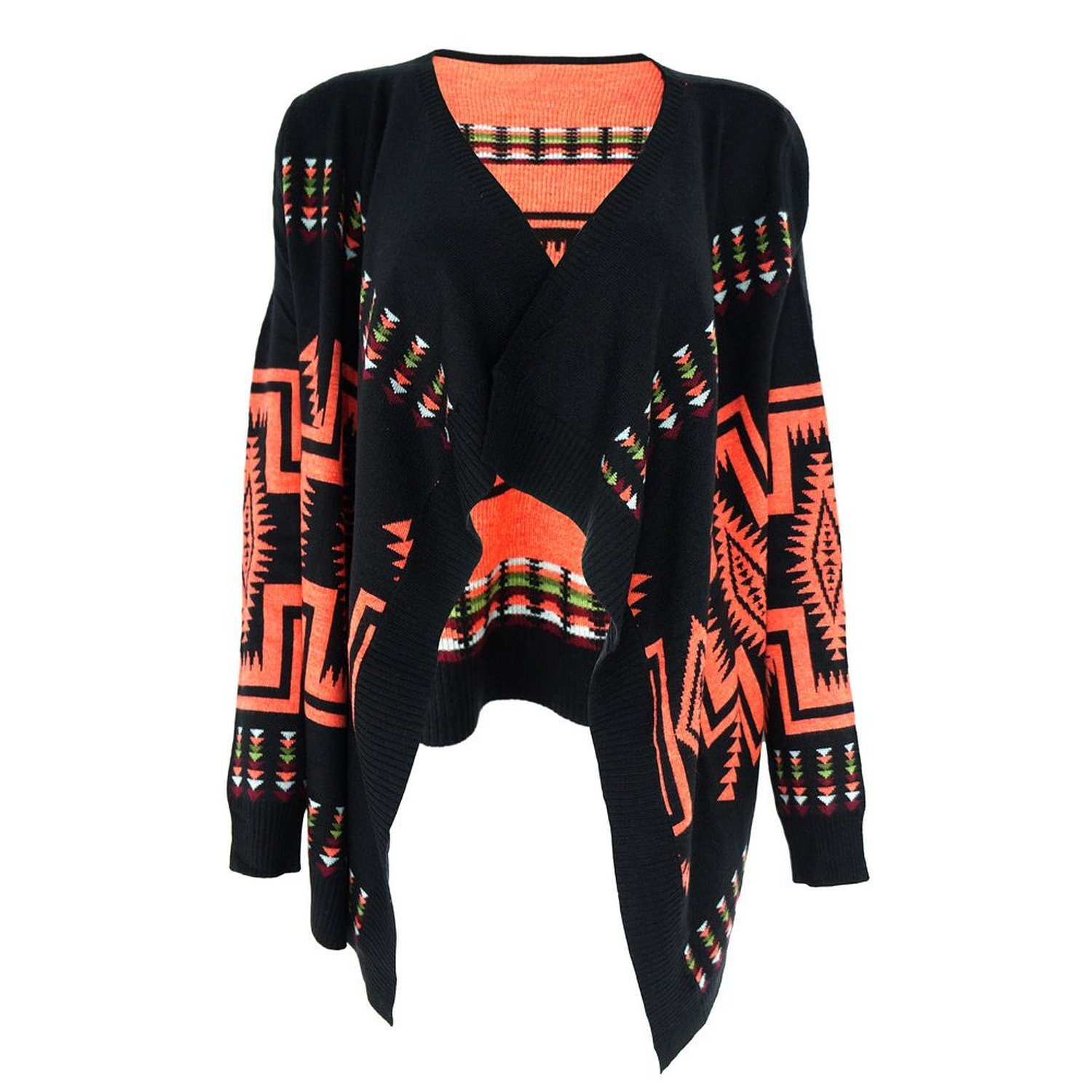ZLYC Women's Tribal Aztec Blanket Wrap Cardigan with Waterfall Open Front at Amazon Women's Clothing store: Cardigan Sweaters