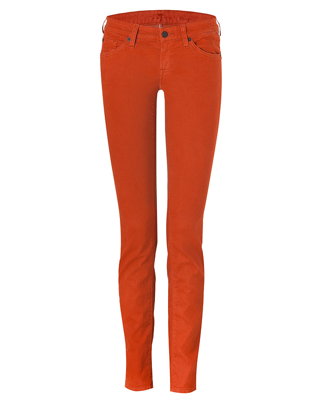 The Olivya Light Drill Deep Orange Low Rise Skinny Jeans from SEVEN FOR ALL MANKIND | Luxury fashion online | STYLEBOP.com