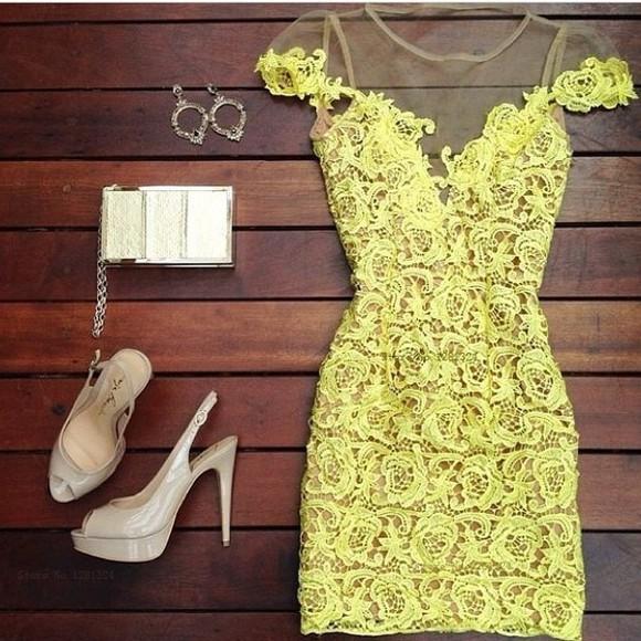 yellow dress lace dress party dress fashionable