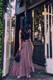 hallie daily,blogger,skirt,dress,top,tank top,belt,hat,bag,shoes,maxi skirt,gucci belt