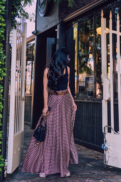 hallie daily blogger skirt dress top tank top belt hat bag shoes maxi skirt gucci belt