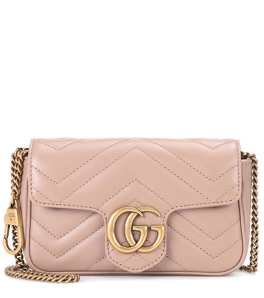 Gucci GG Marmont Mini leather shoulder bag in beige / beige