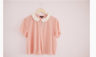 blouse pink skirt peter pan collar blouse